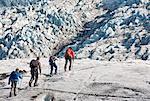 Familie Wandern am Gletscher