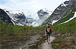 Man hiking in Jostedal Glacier Nat Park