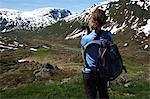 Woman hiking in Brekkedal Valley, Norway