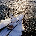Sports fishing boat sailing through sea