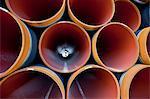 Rohre aus die Ostsee-Gaspipeline von Russland nach Deutschland, Fährhafen Sassnitz, Insel Rügen, Deutschland,