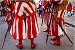 Gros plan des hommes en Costume, Scoppio del Carro, Explosion de la Cart Festival, dimanche de Pâques, Florence, Province de Florence, Toscane, Italie