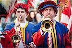 Hornist, Scoppio del Carro, Explosion des Festivals Cart, Ostersonntag, Florenz, Provinz Florenz, Toskana, Italien