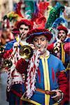 Hornisten in Band, Scoppio del Carro, Explosion der Cart-Festival, Ostersonntag, Florenz, Provinz Florenz, Toskana, Italien