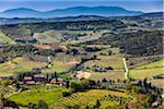 Overview of Farmland and Vineyards, San Gimignano, Province of Siena, Tuscany, Italy