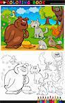 Livre de coloriage ou une Illustration de la Page caricature de drôles d'animaux sauvages pour l'éducation des enfants