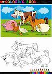 Coloring Book ou une Illustration de la Page Cartoon Funny Farm et animaux d'élevage pour l'éducation des enfants