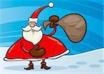 Illustration de dessin animé de Noël père Noël ou Papa Noel avec des cadeaux dans le sac sur la neige