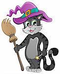 Cartoon cat with Halloween hat - vector illustration.