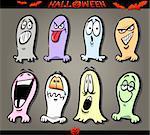 Cartoon Illustration of Halloween Themes, Ghosts Emotions Funny Set