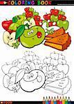 Coloriage livre ou une Illustration de la Page caricature drôle caractères de nourriture pommes et tarte gâteaux pour l'éducation des enfants