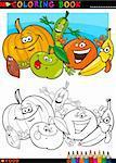 Livre de coloriage ou Page Cartoon Illustration de drôles de personnages alimentaire Fruits et légumes destinés à l'éducation des enfants