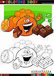Coloriage livre ou une Illustration de la Page caricature drôle caractères de nourriture Oranges et morceaux de chocolat pour l'éducation des enfants