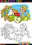 Coloring Book ou Page Cartoon Illustration du petit déjeuner aliments sains comme les Fruits et le lait et d'avoine pour l'éducation des enfants