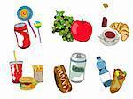 Icône rapide de produits alimentaires, boissons et fruits définie, isolé et regroupé des objets sur fond blanc. Croquis dessiné de main.