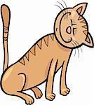 Cartoon Illustration of Happy Beige Tabby Cat