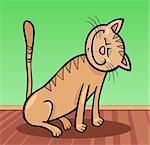 Illustration dessin animé heureux Beige Tabby chat à la maison