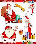 Cartoon Illustration du père Noël ou Papa Noel, cadeaux, étoiles et d'autres thèmes de Noël ensemble