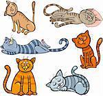 Cartoon Illustration of Happy and Sleepy Cats or Kittens Set