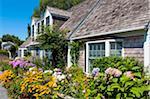 House with Lush Flower Garden, Provincetown, Cape Cod, Massachusetts, USA