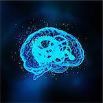 Glowing brain drawing with gears inside