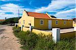 Yellow House with Fenced Courtyard, Aruba, Leeward Antilles, Lesser Antilles, Caribbean