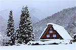 Shirakawa old village settlement covered in snow, Gifu Prefecture