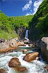 Naena waterfall, rocks and green leaves, Niigata Prefecture