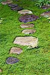 Trittsteine in japanischer Garten, Takayama, Präfektur Gifu