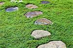 Stepping stones in traditional Japanese garden, Takayama, Gifu Prefecture