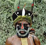 Portrait of Huli Tribesman Papua New Guinea