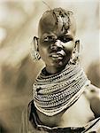 Portrait of Masai Woman Wearing Beads around Neck, Tanzania