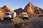 Safari Vehicles at Campsite Spitzkoppe, Namibia, Africa
