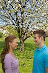 Young couple on a meadow,Young couple on a meadow