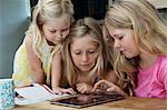 Trois filles sur tablette numérique