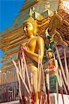 Gold leaf Buddha and incense sticks at Wat Doi Suthep Temple, Chiang Mai, Thailand, Southeast Asia, Asia