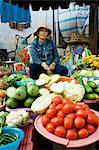 Vegetable seller portrait, Hoi An market, Vietnam, Indochina, Southeast Asia, Asia