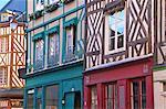 Norman colombage moitié typique maisons, Honfleur, Calvados, Normandie, France, Europe