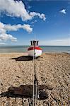 Boat on the beach, Dungeness, Kent, England, United Kingdom, Europe