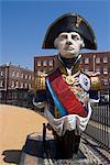 Ship figurehead of Admiral Nelson, Portsmouth Historic Docks, Portsmouth, Hampshire, England, United Kingdom, Europe