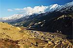 Village de Manang et Annapurna Himalaya, vallée de la rivière Marsyangdi, Annapurna Conservation Area, Gandaki, région de l'Ouest (Pashchimanchal), Népal, Himalaya, Asie