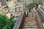 Treppe zum oberen Rand Sigiriya (Lion Rock), UNESCO Weltkulturerbe, Sri Lanka, Asien