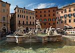 Fountain in Piazza Navona, Rome, Lazio, Italy, Europe