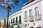 Balcon sur la rue o ' Donnell, vieille ville de San Juan, Puerto Rico Island, West Indies, Caraïbes, États-Unis d'Amérique, Amérique centrale