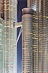 Affichage des détails des tours Petronas, Kuala Lumpur, en Malaisie, l'Asie du sud-est, Asie