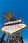 Bienvenue au centre-ville signe de Las Vegas, Las Vegas, Nevada, États-Unis d'Amérique, Amérique du Nord