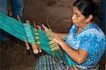 Weaver de la femme maya coopérative en Amérique centrale de Santiago Atitlan, au Guatemala,