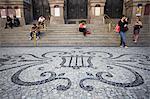 People sitting outside Theatro Municipal (Municipal Theatre), Centro, Rio de Janeiro, Brazil, South America