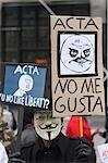 Stop ACTA Protestors march in Paris, France, Europe