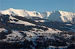 Mont Blanc mountain range, Mont d'Arbois in Megeve, Haute-Savoie, French Alps, France, Europe
